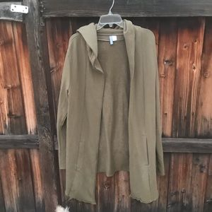 Divided Terry Cloth Green Cardigan
